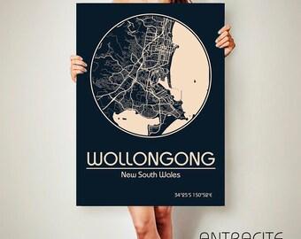 WOLLONGONG Australia CANVAS Map Wollongong Poster City Map Wollongong Art Print Wollongong poster Wollongong map art Poster Wollongong map