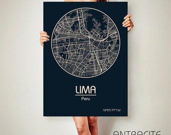 LIMA Peru CANVAS Map Lima Peru Poster City Map Lima Peru Art Print Lima Peru