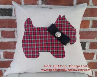 "Handmade Scottie Dog Pillow Cover Red Tartan Plaid Scottish Terrier Scotty Christmas Holiday Decor 18"" Square"