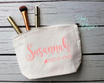 Natural Canvas Cosmetic bag, Bridesmaid gift, Personalized