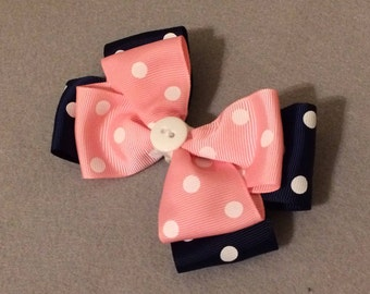 Pink and Navy Polka Dot Large Hair Bow / Pink and Blue Hair Bow / Dual Color Stacked Hair Bow / Springtime Hair Bow / Large Hair Bow