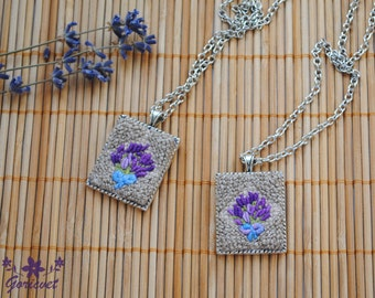 Lavender necklace flower pendant bridesmaid necklace feminine jewelry purple flower embroidery jewelry gift nature lover gift for girlfriend