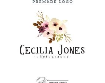 Floral Watercolor Logo design Premade, Floral Logo, Custom logo design, Floral Feminine Branding, Premade Logo Design, Logo and watermark