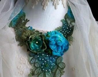 romantic floral necklace, bib necklace, romantic wedding, unique necklace, hand made bib necklace, fantasy necklace, shabby chic,