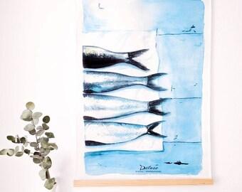 Wood poster hanger| Wooden poster | Support for illustrations | Print frame | Framing easy | Photo Wallets wood | To hang illustration