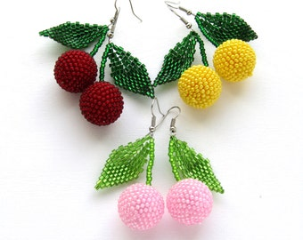 Inspiration for her Cherry earrings Beaded earrings statement earrings Fruit earrings Summer jewelry Beads earrings Fruit jewelry gift woman