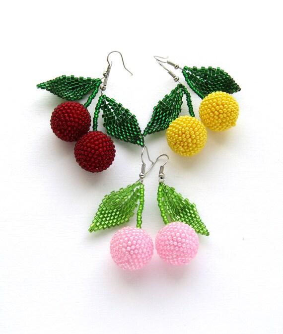 Beaded earrings Cherry earrings Fashion Jewelry Fashion earrings Women gift Beaded Jewelry Handmade earrings Fruit Pink earrings Berry