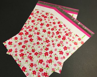 25 Designer Poly Mailers 10x13 Little RED FLOWERS Envelopes Shipping Bags Spring Mother's Day