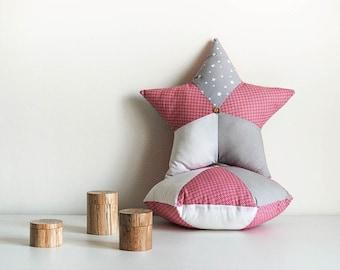 Cushion Star Pink, gray and white - star cushion