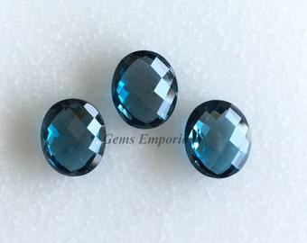 London Blue Topaz Oval Faceted Briolettes Drops / Size 12x10 mm / Fine Quality / Checkerboard Cut / Priced Individually