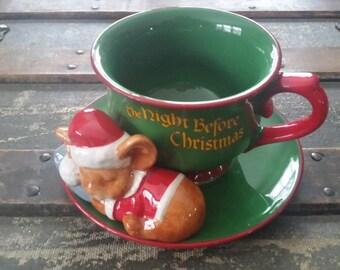 Christmas mug vintage, Night Before Christmas mug Teleflora, mug and plate set