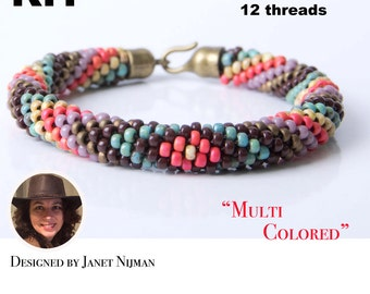 Kumihimo pattern tutorial KIT 12 strands Multicolor Bracelet