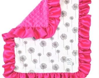 Hot Pink Dandelion Security Blanket Gray Hot Pink