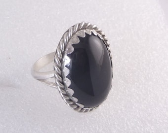 Black Onyx Sterling Silver Ring by SmithSilver size 9 1/2 circa 1978