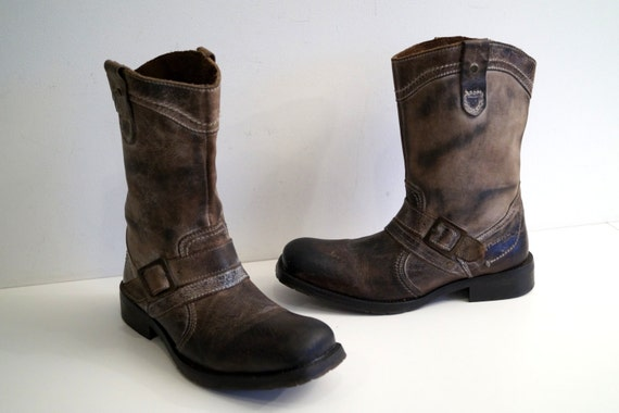 vintage nushu mens leather boots size eur 42 distressed