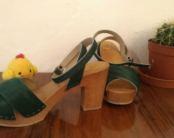 HIGH HEELS CLOGS pony bottle Green