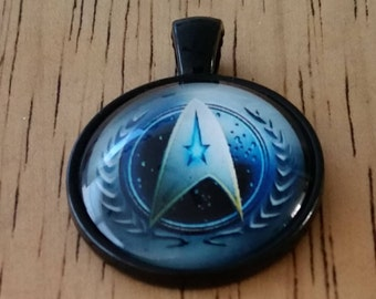 1 - Bronze - Glass Cabochon - Pendant - Necklace - Star Trek Communicator Badge - The Size is 36mm x 28mm