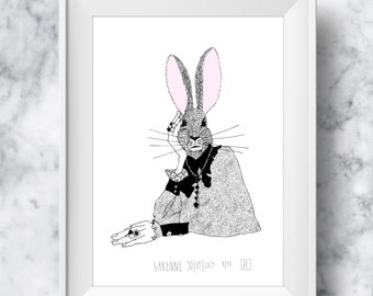 A3+ limited edition - WILD RABBIT : Illustration Drawing Art Print Poster Wall Art Christmas Gift Art for Home