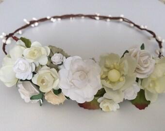 Flower crown, wedding rose crown, white and ivory rose pip berries tiara, flower girl crown,toddler flower headband
