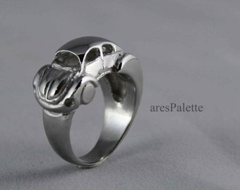 Volkswagen Sideways Beetle Ring - 925 Silver Handmade VW Jewellery / White Gold Plated - Free Standart Shipping and Special Gifts