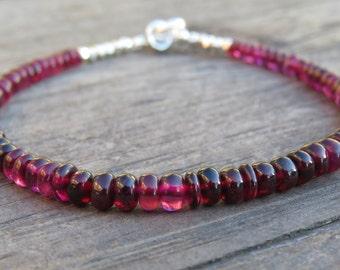 Pink Spinel  & Silver Bracelet