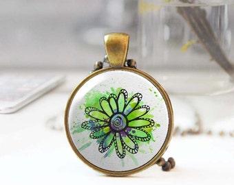 Botanical jewelry, Lime green flower necklace, Long boho necklace, Floral pendant, Round pendant necklace, Feminine jewelry, 5093-9