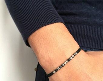 Human macramé bracelet Pearl semi precious jasper / black macramé men bracelet adjustable in gemstone jasper zebra / lesptitskdo