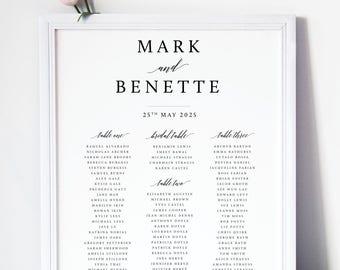 Romance WEDDING TABLE SEATING Chart, Printable Seating Charts or Printed Charts, Custom Size, Color and Table Numbers