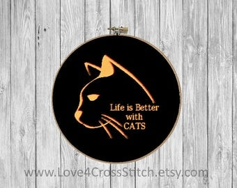 Abstract Cat Cross Stitch, Cat Quote Cross Stitch, Cat Cross Stitch Pattern Modern, Cat Love Cross Stitch, Life is Better with Cats Cross