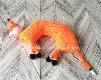 Kids travel pillow/ Travel pillow/ Crochet travel pillow pattern/ Neck support pillow/ Crochet fox pillow/ Fox travel pillow/ Amigurumi