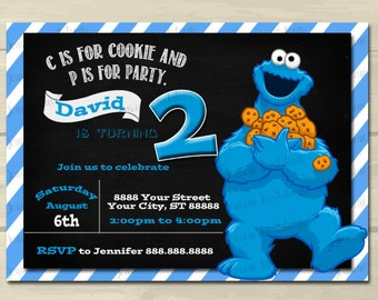 Cookie Monster Birthday Invitation ,cookie monster, Blue, 5x7, printed or digital file