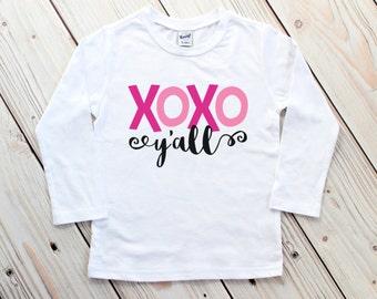 Toddler Valentine Shirt - Girl Valentine Shirt - XOXO Y'all - Pretty Valentine Shirt - Girl Valentine Tee - Toddler Valentines Day