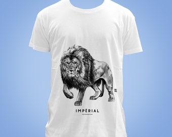 Organic cotton t-shirt: lion IMPÉRIAL (majestic, imperial, dominating) animal totem 2016 illustration