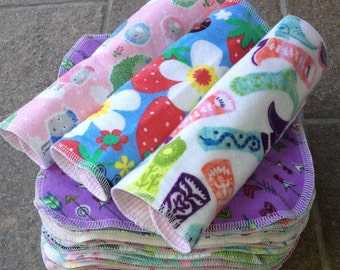 Reusable Cloth Diaper Wipes, Baby Girl, Variety Prints, Flannel, Washcloths, Cloth Diapering, Non-Paper Napkins, Handkerchief, Family Cloth
