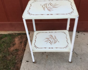 Vintage Mid Century Off White  With Gold Wheat Pattern Rolling Metal Kitchen Cart 2 Tiers