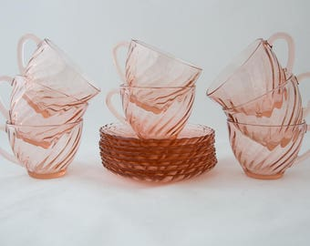 Gorgeous Vintage Arcoroc France Pink Tea Cup and Saucer Set of 8 - Vintage Pink Glass Tea Set