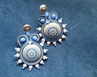 Errings soutache ceramic blue