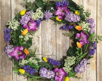 Tulip wreath,  spring wreath, easter wreath, floral wreath, large wreath, indoor wreath, outdoor wreath, mother's day
