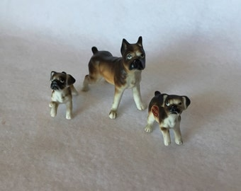 Vintage, Bone China, Mini Boxer Family from Japan