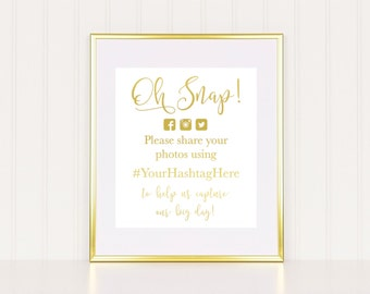Gold Foil Wedding Hashtag Sign - Real foil - Choose any color. Hashtag, instagram, share photo, wedding sign