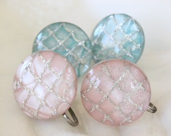Vintage Embedded Lucite Round Screw Back Earrings Pastel Pink and Aqua Two Pairs