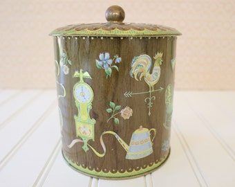 Vintage Daher Tin Canister Woodgrain and Pastels Collectible Tin Kitchen Canister Made in England