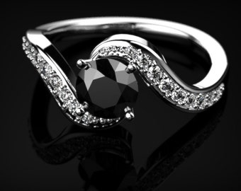 White Gold Black Diamond Engagement Ring Black Diamond Engagement Ring Genuine Black Diamond Ring Black Gemstone