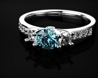 Blue Topaz Engagement Ring White Gold Ring White Gold Engagement Ring Blue Gemstone Engagement Ring Gold Blue Topaz Ring December Birthstone
