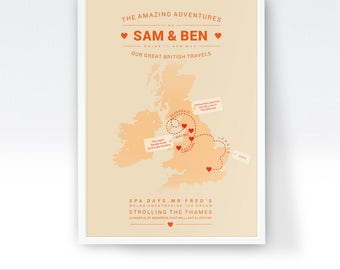 Personalised UK Map, Map of the UK, Custom Map Print, Places We've Been, Places Travelled, Where We've Been, First Met, Our Travels