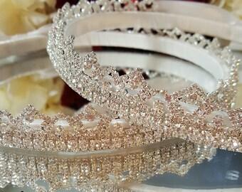 STEFANA Greek Grecian Orthodox Wedding Crown Stephana SWAROVSKI Crystals Tiara Wreath Handmade SALE!