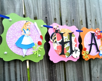 Mad Hatter Party Banner, Alice In Wonderland Banner, Mad Hatter Tea Party Banner, Mad Hatter Birthday Banner, Birthday Banner, Mad Hatter
