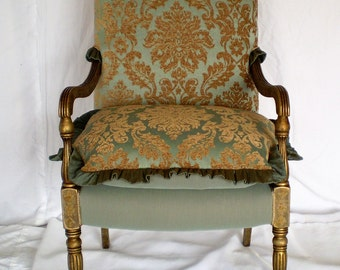 Accent Romantic Boudoir Office Upholstered Blue Gold Armchair Louis  Neoclassical Hollywood Regency Old World French Renaissance