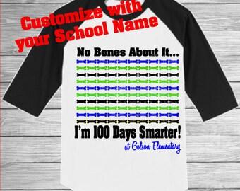100 Days Shirt, 100 Days Smarter Shirt, 100 Days of School Shirt, Customized 100 Days Shirt, 100 Days of School Raglan