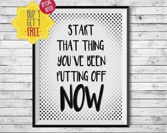 Motivational quotes, Inspirational wall art, Custom quote print, Quote prints, Start at home decor, Printable art, Polka dot, Black white